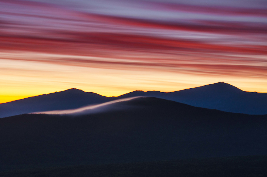 A wild pre-dawn sky over the summits of Jefferson and Washington gives hint of the color to come...