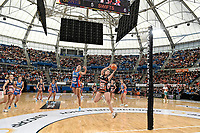 6th June 2021; Ken Rosewall Arena, Sydney, New South Wales, Australia; Australian Suncorp Super Netball, New South Wales, NSW Swifts versus Giants Netball; Jo Harten of the Giants Netball catches the ball under pressure from Sarah Klau of NSW Swifts