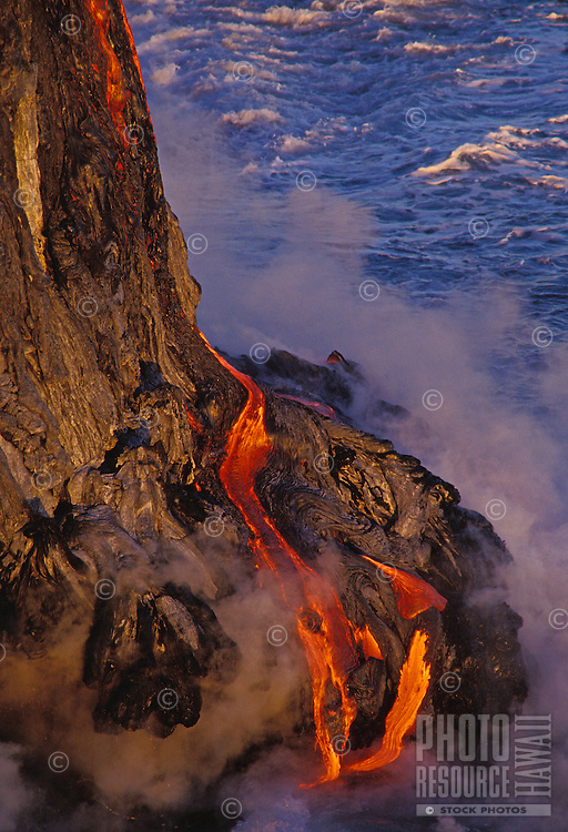 Lava flow reaching the sea, Hawaii Volcanoes National Park