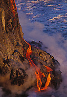 Lava flow reaching the sea, Hawaii Volcanoes National Park