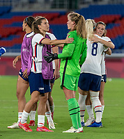 YOKOHAMA, JAPAN - JULY 30: Tobin Heath #7 of the USWNT and Alyssa Naeher #1 of the USWNT react during a game between Netherlands and USWNT at International Stadium Yokohama on July 30, 2021 in Yokohama, Japan.
