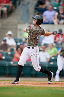 Arkansas Travelers catcher Marcus Littlewood follows through on a swing during a game against the Frisco RoughRiders on May 28, 2017 at Dickey-Stephens Park in Little Rock, Arkansas.  Arkansas defeated Frisco 17-3.  (Mike Janes/Four Seam Images)
