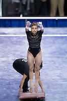 LOS ANGELES, CA - April 19, 2013:  Stanford's Alex Archer competes on vault during the NCAA Championships at UCLA.