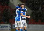 St Johnstone v Hearts…10.08.16..  McDiarmid Park…BetFred Cup<br />Brad McKay gets a hug from Joe Shaughnessy at full time<br />Picture by Graeme Hart.<br />Copyright Perthshire Picture Agency<br />Tel: 01738 623350  Mobile: 07990 594431