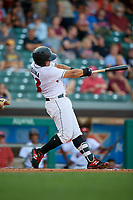 Indianapolis Indians first baseman Jose Osuna (13) follows through on a swing during a game against the Rochester Red Wings on July 24, 2018 at Victory Field in Indianapolis, Indiana.  Rochester defeated Indianapolis 2-0.  (Mike Janes/Four Seam Images)