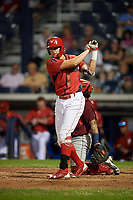 Williamsport Crosscutters designated hitter Alec Bohm (5) takes a practice swing during a game against the Mahoning Valley Scrappers on August 28, 2018 at BB&T Ballpark in Williamsport, Pennsylvania.  Williamsport defeated Mahoning Valley 8-0.  (Mike Janes/Four Seam Images)