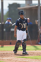 Milwaukee Brewers catcher Luis Avalo (97) during an Instructional League game against the Los Angeles Dodgers at Maryvale Baseball Park on September 24, 2018 in Phoenix, Arizona. (Zachary Lucy/Four Seam Images)