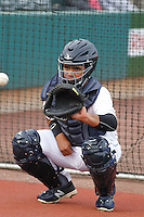 Charleston RiverDogs catcher Eduardo Navas (17) in the bullpen before a game against the Hickory Crawdads at Joseph P.Riley Jr. Ballpark on May 2, 2015 in Charleston, South Carolina. Hickory defeated Charleston  4-1. (Robert Gurganus/Four Seam Images)