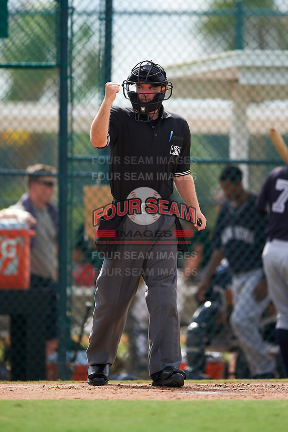 Umpire Conner Colhane during the first game of a doubleheader between the GCL Yankees 2 and GCL Pirates on July 31, 2015 at the Pirate City in Bradenton, Florida.  GCL Pirates defeated the GCL Yankees 2 2-1.  (Mike Janes/Four Seam Images)