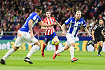 Saul Niguez Esclapez of Atletico de Madrid (C) looks to bring the ball down during the La Liga 2017-18 match between Atletico de Madrid and Deportivo Alaves at Wanda Metropolitano Stadium on 16 December 2017 in Madrid, Spain. Photo by Diego Souto / Power Sport Images