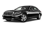 Stock pictures of low aggressive front three quarter view of 2017 Mercedes Benz S-Class Executive-Line 4 Door Sedan Low Aggressive