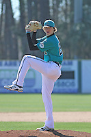 University of Coastal Carolina Chanticleers pitcher Tyler Herb #27 pitching during a game against the University of Pittsburgh Panthers at Ticketreturn.com Field at Pelicans Ballpark on February 16, 2014 in Myrtle Beach, South Carolina. Pittsburgh defeated Coastal Carolina by the score of 10-6. (Robert Gurganus/Four Seam Images)