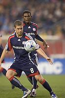 New England Revolution midfielder Chris Tierney (8) clears corner kick. The New England Revolution tied the Colorado Rapids, 1-1, at Gillette Stadium on May 16, 2009.