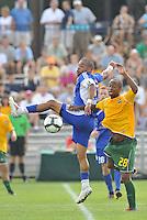 Geison Moura (blue , minn), Collen Warner...AC St Louis and NSC Minnesota Stars played to a 2-2 tie at Anheuser-Busch Soccer Park, Fenton, Missouri.