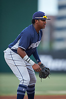 Third Baseman Yerry Landinez (27), of the AZL Padres 1, during an Arizona League game against the AZL Angels on August 5, 2019 at Tempe Diablo Stadium in Tempe, Arizona. AZL Padres 1 defeated the AZL Angels 5-0. (Zachary Lucy/Four Seam Images)