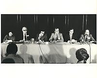 Le nouveau chef du PLQ, Claude Ryan a la tribune de la chambre de commerce de Montreal, le 3 novembre 1978<br /> <br /> PHOTO : Agence Quebec Presse