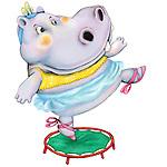 Illustration of hippopotamus standing on trampoline over white background
