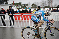 Adam Toupalic (CZE) just realised he made a catastrophic mistake by thinking (and celebrating) he was the new U23 World Champion crossing the finish line, only to be speeded past by other riders who correctly sprinted on for the actual last lap... now Toupalic has to restart his engine and get going again.<br /> <br /> U23 men's race<br /> <br /> UCI 2016 cyclocross World Championships / Zolder, Belgium