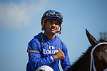 Hallandale Beach, FL- Jockey Luis Saez after winning the ROyal Delta Stakes aboard #4 Penwith. Gulfstream Park. (Photo by Arron Haggart)