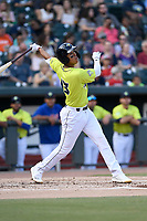Third baseman Mark Vientos (13) of the Columbia Fireflies bats in a game against the Charleston RiverDogs on Saturday, April 6, 2019, at Segra Park in Columbia, South Carolina. Columbia won, 3-2. (Tom Priddy/Four Seam Images)