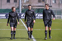 assistant referee Joline Delcroix , referee Bert Verbeke , assistant referee Glenn Lakiere pictured before a female soccer game between  AA Gent Ladies and Club Brugge YLA on the 16th matchday of the 2020 - 2021 season of Belgian Scooore Womens Super League , saturday 13 th of March 2020  in Oostakker , Belgium . PHOTO SPORTPIX.BE | SPP | STIJN AUDOOREN
