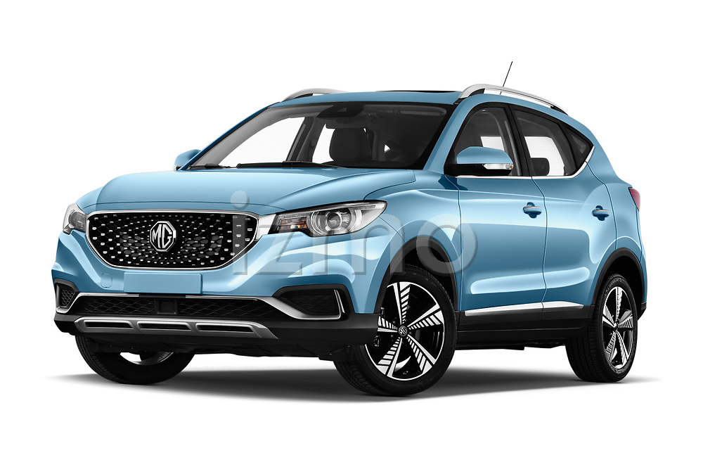 Stock pictures of low aggressive front three quarter view of 2020 Mg MG-ZS-EV Luxury 5 Door SUV Low Aggressive