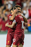 Liverpool FC midfielder Philippe Coutinho celebrates with teammate during the Premier League Asia Trophy match between Liverpool FC and Leicester City FC at Hong Kong Stadium on 22 July 2017, in Hong Kong, China. Photo by Weixiang Lim / Power Sport Images