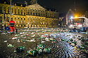 The clear up gets underway in front of the Royal Palace at Dam Square, Amsterdam after the Celtic fans party ahead of the game against Ajax.