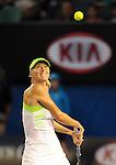 Maria Sharapova (RUS) loses in the finals of the Australian Open in Melbourne Australia on January 27, 2012.