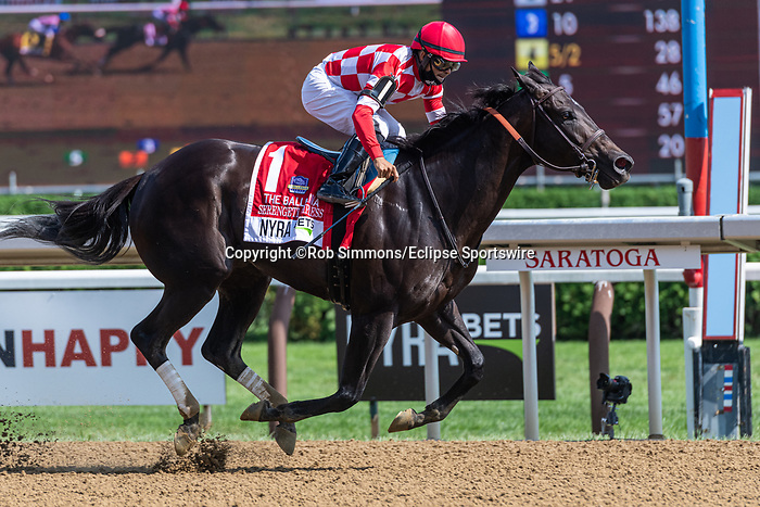 August 8, 2020: Serengeti Empress #1, ridden by Luis Saez, wins the Ballerina  on Travers Day at Saratoga Race Course in Saratoga Springs, New York. Rob Simmons/Eclipse Sportswire/CSM