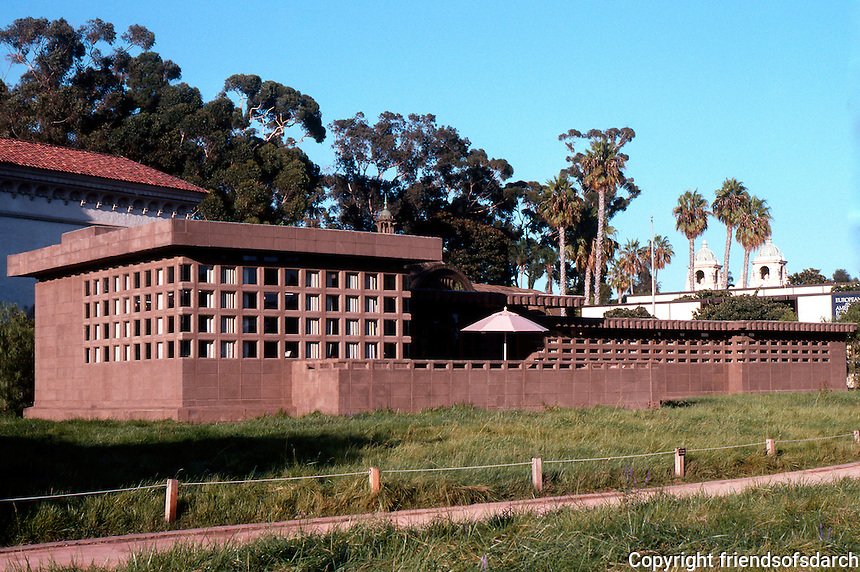 """F.L. Wright: Usonian House, """"In the Realm of Ideas"""". Show of Wright's work, August 1990. Balboa Park.  Photo 2005."""
