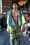 Model walks runway in outfits from the Romeo Hunte Spring Summer 2019 collection in PH-D at Dream Downtown New York City on July 11, 2018; during New York Fashion Week: Men's Spring Summer 2019.