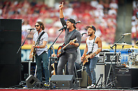 Country music artist Billy Currington performs before the All-Star Legends and Celebrity Softball Game on July 12, 2015 at Great American Ball Park in Cincinnati, Ohio.  (Mike Janes/Four Seam Images)