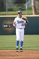 Chase Stumpf (33) of the of UCLA Bruins in the field at second base during game a against the University of San Diego Toreros at Jackie Robinson Stadium on March 4, 2017 in Los Angeles, California.  USD defeated UCLA, 3-1. (Larry Goren/Four Seam Images)