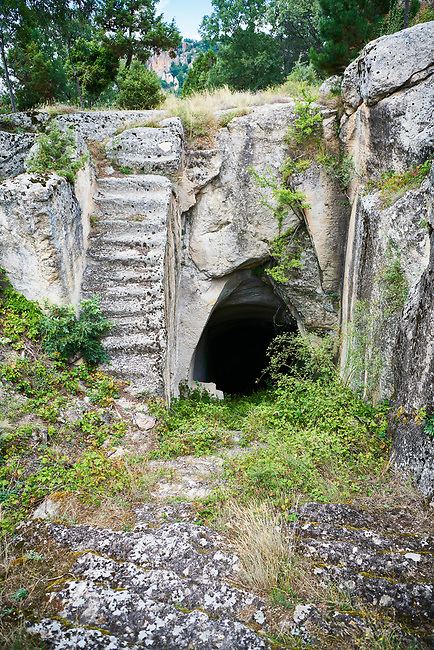 steps amd paths leading to the Phrygian water cistern of Midas city cut deep into the underground rock. 8th - 6th century BC . Midas City, Yazilikaya, Eskisehir, Turkey.