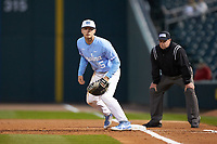Michael Busch (15) of the North Carolina Tar Heels on defense against the Charlotte 49ers at BB&T BallPark on March 27, 2018 in Charlotte, North Carolina. The Tar Heels defeated the 49ers 14-2. (Brian Westerholt/Four Seam Images)