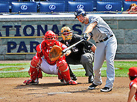29 May 2011: San Diego Padres outfielder Ryan Ludwick in action against the Washington Nationals at Nationals Park in Washington, District of Columbia. The Padres defeated the Nationals 5-4 to take the rubber match of their 3-game series. Mandatory Credit: Ed Wolfstein Photo