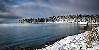 The is a view of Agate Bay on the North Shore of Lake Tahoe after a major Christmas Eve snow storm.