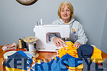 Pat Turner at home in Gallowsfield on Tuesday, making masks and the proceeds are going to Pieta House in Tralee.