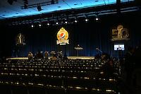Mit großem Interesse wird im Saal gerechnet - Super Bowl 50 Halbzeitshow PK, Moscone Center San Francisco
