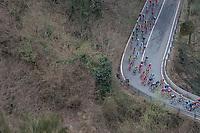 peloton descending the highest point of the course: the Passo Del Turchino (532m)<br /> <br /> 108th Milano - Sanremo 2017