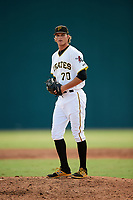 Pittsburgh Pirates pitcher Blake Cederlind (70) gets ready to deliver a pitch during an Instructional League game against the Toronto Blue Jays on October 13, 2017 at Pirate City in Bradenton, Florida.  (Mike Janes/Four Seam Images)