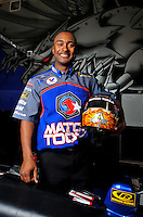 Oct. 31, 2008; Las Vegas, NV, USA: NHRA top fuel dragster driver Antron Brown poses for a portrait prior to qualifying for the Las Vegas Nationals at The Strip in Las Vegas. Mandatory Credit: Mark J. Rebilas-