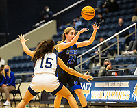 Ava Maner (23) of Rogers passes the ball against Kendall Lindsey (15) of Bentonville Westat Wolverine Arena, Centerton,  AR, Tuesday, January 12, 2021 / Special to NWA Democrat-Gazette/ David Beach
