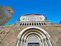 12th century Roamesque Portal on the facade of the 8th century Romanesque Basilica church of St Peters, Tuscania, Lazio, Italy