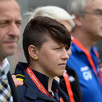 20150514 - BEVEREN , BELGIUM : Lierse's assistant coach Hilde Clessens pictured during the final of Belgian cup, a soccer women game between SK Lierse Dames and Club Brugge Vrouwen , in stadion Freethiel Beveren , Thursday 14 th May 2015 . PHOTO DAVID CATRY