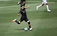 LOS ANGELES, CA - AUGUST 22: Francisco Ginella #8 of the LAFC passes off the ball during a game between Los Angeles Galaxy and Los Angeles FC at Banc of California Stadium on August 22, 2020 in Los Angeles, California.