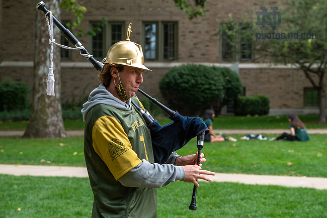 September 12, 2020; Jack Crilly plays bagpipes on North Quad before the season-opening football game. (Photo by Matt Cashore/University of Notre Dame)