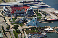 aerial view above Cleveland Browns Stadium Rock and Roll Hall of Fame Ohio