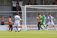 Luke Gambin of Barnet (right) scores his team's second goal to make it 2-3 during the Friendly match between Barnet and Crystal Palace at The Hive, London, England on 11 July 2015. Photo by David Horn.